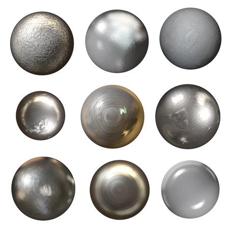 Steel rivet heads collection - isolated on white