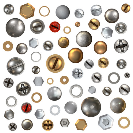 screw heads: Screw heads set - high detailed, isolated on white background
