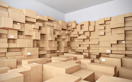 boite carton: Entrep�t avec beaucoup de bo�tes de carton - 3d illustration