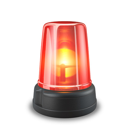 emergency light: Red siren - 3d illustration on white background