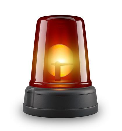 flasher: Red siren - 3d illustration on white background