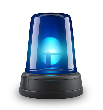 emergency attention: Blue siren - 3d illustration on white background  Stock Photo