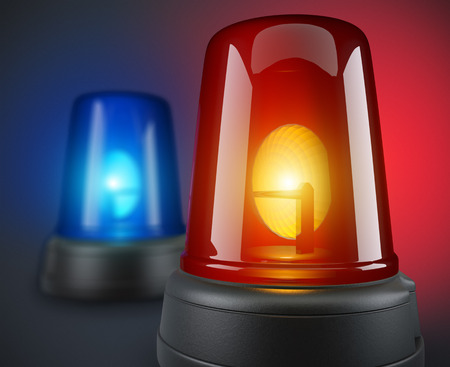 Red and blue police lights - 3d illustration