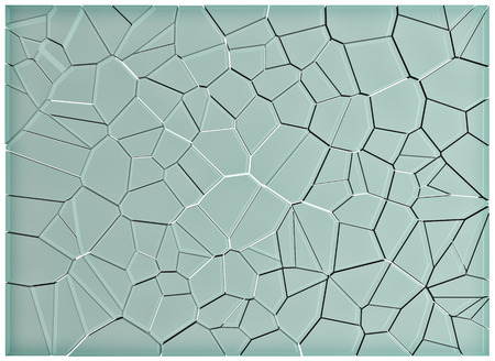 shattered glass: Broken glass, pieces of shattered glass over white background