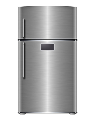 Modern steel refrigerator - isolated on white background