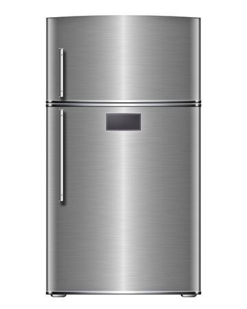 Modern steel refrigerator - isolated on white background