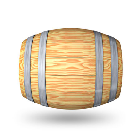 barrell: Wooden barrel with steel ring on white background Stock Photo