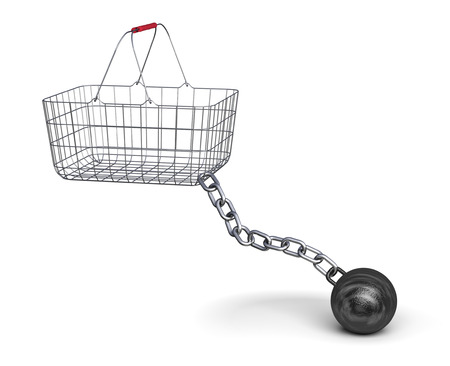 movable: Shopping basket and steel ball on a chain, 3d illustration Stock Photo