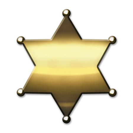 Golden Sheriff Star - isolated on white background photo