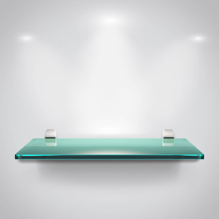 Empty advertising glass shelves with spot light  photo