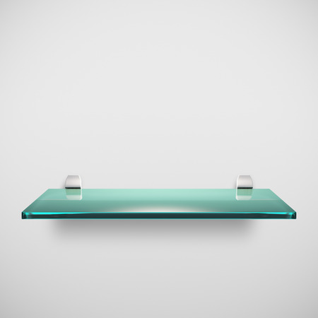 Empty advertising glass shelf - on white background