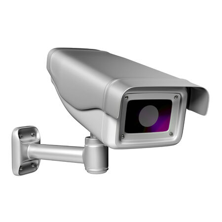 deterrent: Security camera on a white background, 3D render  Stock Photo