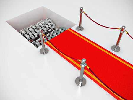 Red carpet with crusher - 3d illustration illustration