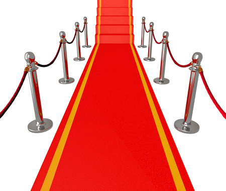 Red carpet - 3d illustration, isolated on white illustration