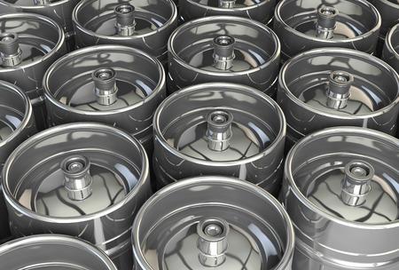 beer production: Metal beer kegs - 3d illustration