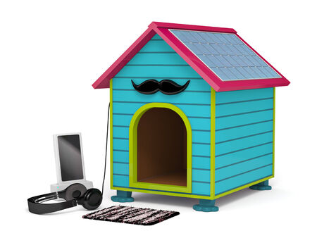 doormat: Dogs kennel in Hipster style, 3d illustration
