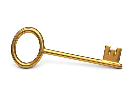 Antique gold key -  isolated on white background photo