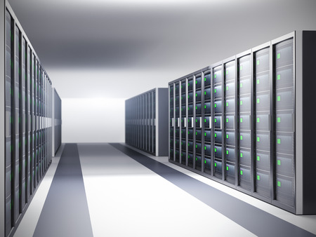 security room: Network server room, row of servers - 3d illustration