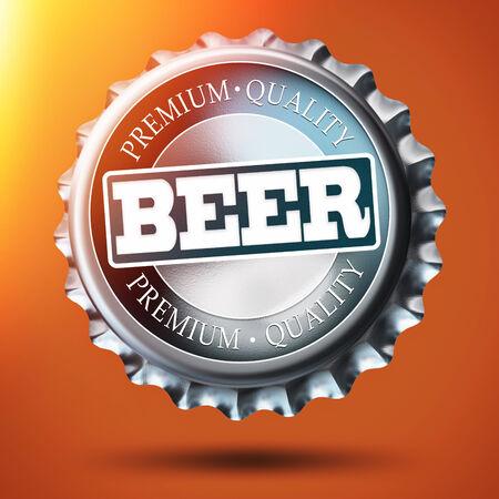 bottle cap: Illustration of bottle cap on orange background