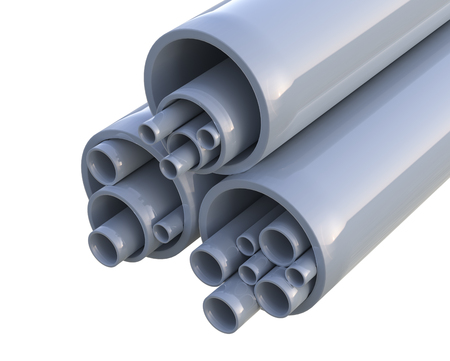 Plastic pipes - isolated on white background