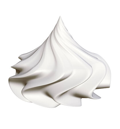 yogurt ice cream: Whipped cream - isolated on a white background, clipping path included