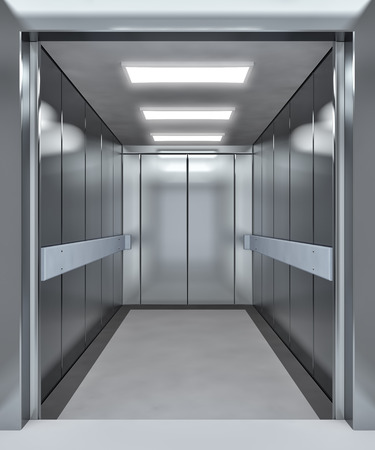 Modern elevator with opened doors - 3d illustration illustration