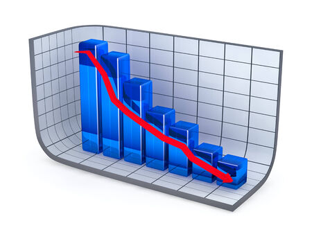 descending: Growth bar chart and red arrow moving down Stock Photo