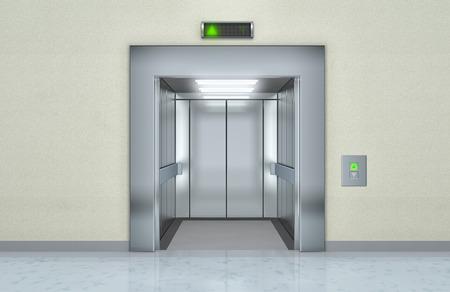 開けられたドア - 3 d イラストと近代的なエレベーター
