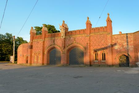 extant: KALININGRAD, RUSSIA - JUNE 8, 2014  Friedland Gate - one of seven extant gate of the city of Kaliningrad earlier Kenigsberg, built in 1857-1862 years, inside placed museum exposition  Editorial