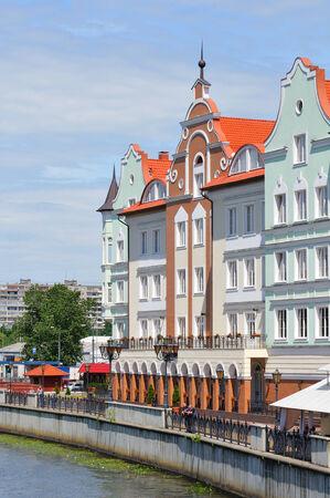 ethnographic: KALININGRAD, RUSSIA - JUNE 16, 2014  Ethnographic and trade center, embankment of the Fishing Village