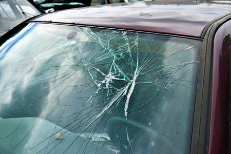 car glass: Broken Windshield
