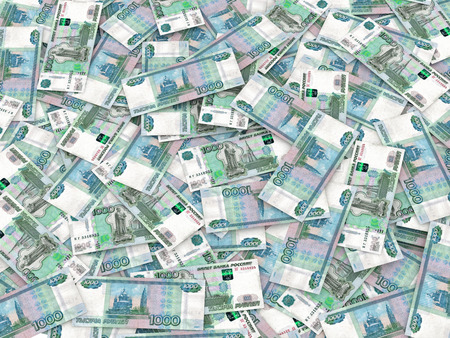 Russian currency - heap of russian ruble banknotes