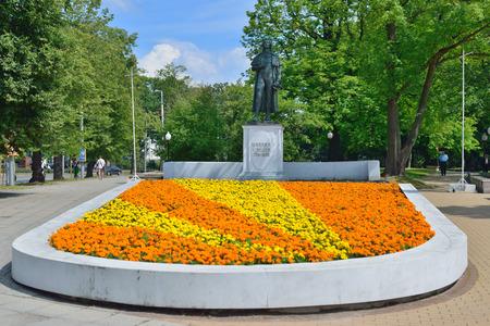 dramatist: KALININGRAD, RUSSIA - JULY 14: Statue of Johann Christoph Friedrich von Schiller, a German poet, philosopher, historian and playwright Editorial