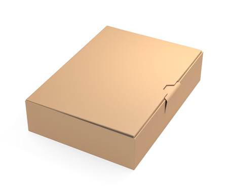 closed box: Brown cardboard box isolated on white background