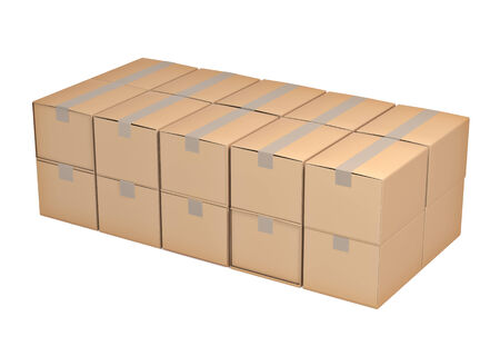 storage box: Brown cardboard box isolated on white background