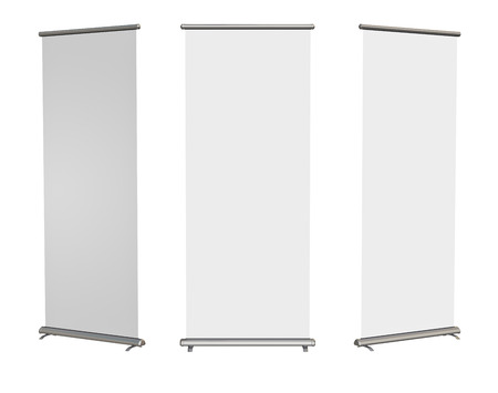 advertise: Blank roll-up banner display, isolated with clipping path