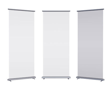 Blank roll-up banner display, isolated with clipping path