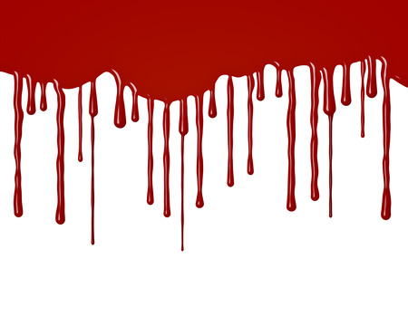 drop down:  Drops of blood or red paint flowing down - isolated on white