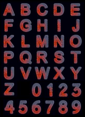 Hot set Iron Font geïsoleerd op een zwarte achtergrond
