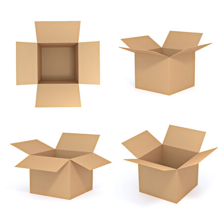 corrugated: Brown cardboard box set -  isolated on white background Stock Photo