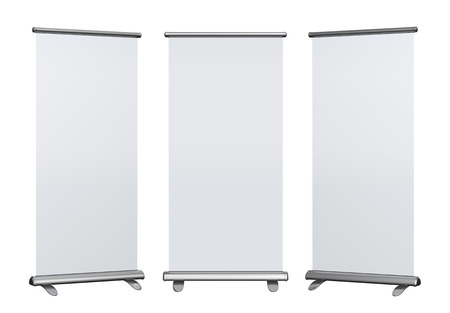 Blank roll up banner display on white background photo