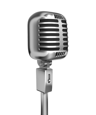 vintage microphone: Vintage microphone - 3d illustration, isolated on white background