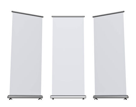 rollup: Blank roll-up banner display, isolated Stock Photo