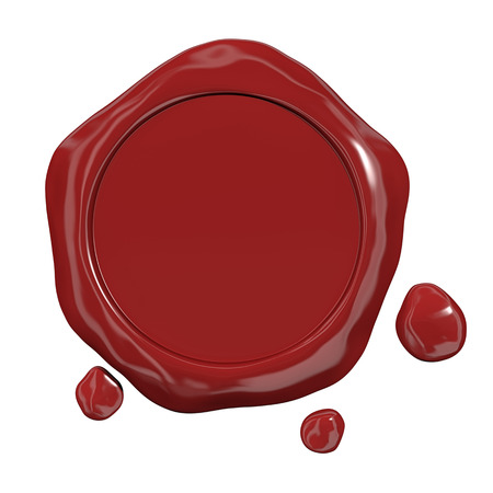 wax glossy: Red seal wax Stock Photo