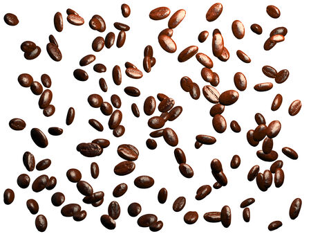 large bean: Roasted coffee beans falling down Stock Photo