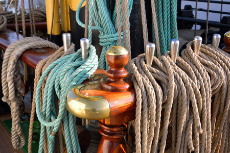 Rigging of an old sailing vessel photo