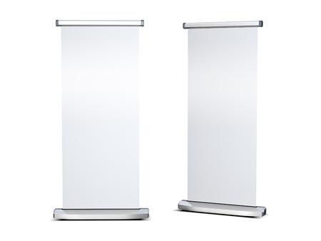 Blank roll up banner display on white background Standard-Bild
