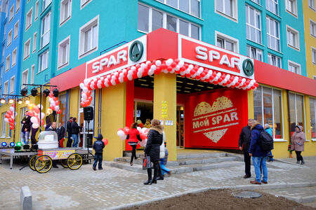 KALININGRAD, RUSSIA - NOVEMBER 19, 2014: A festive opening SPAR supermarket on the street Minusinskaya. Spar is an international retail chain and franchise.