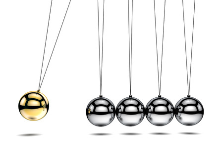 Newtons cradle with one gold ball - 3d illustration illustration
