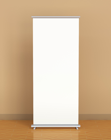 banner stand: Blank roll-up banner against the brown wall